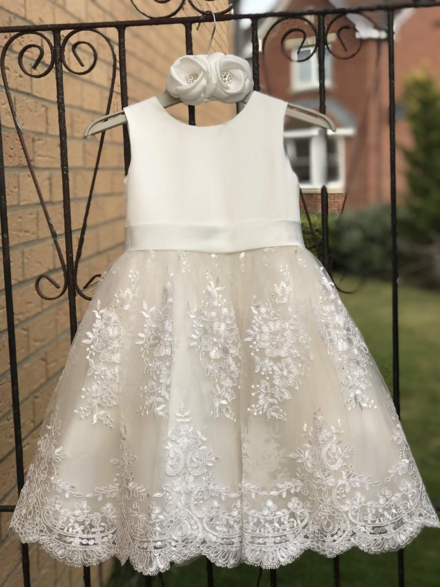 Свадьба - Ivory Satin Lace Champagne Tulle Flower Girl Dress Wedding Bridesmaid Dress M0036B