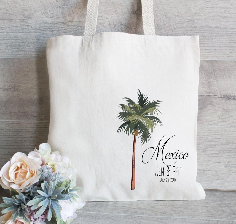 Wedding - Palm Tree Tote Bag, Set of 25, Wedding Welcome Tote Bags, Custom Tote Bag for Wedding, Destination Wedding Favor, Mexico Wedding Set of 25