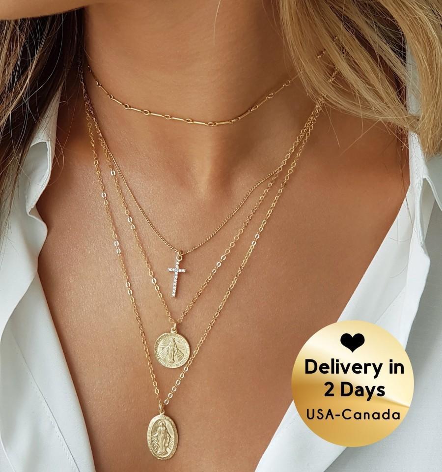 Mariage - Gold Coin Necklace Virgin Mary Coin Necklace