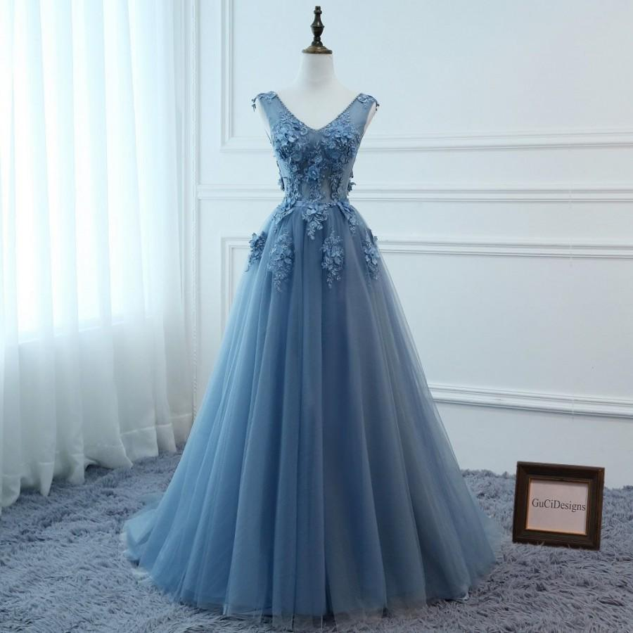Свадьба - Custom Color Bridal Gown Sexy V-neck Low Back Women Formal Evening Prom Party Dresses Long Blue Beaded Lace Flowers Dresses Special Occasion