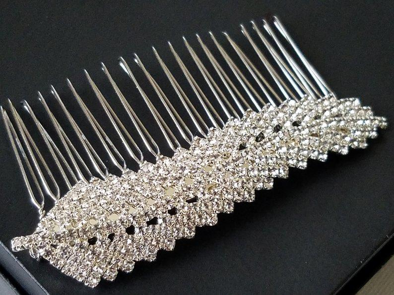 Свадьба - Crystal Leaf Bridal Hair Comb, Wedding Hair Piece, Sparkly Hair Piece, Rhinestone Headpiece, Bridal Hair Jewelry, Leaf Silver Hair Piece