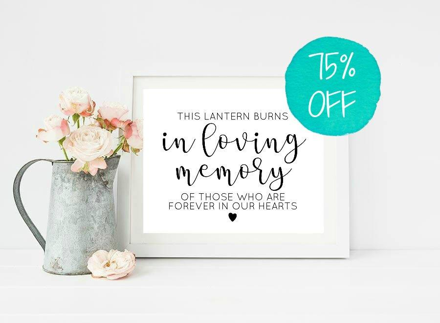 Mariage - Memory Sign, In Loving Memory, In Loving Memory Wedding Sign, This Lantern Burns, Memory Lantern, Forever In Our Hearts, Printable Wedding