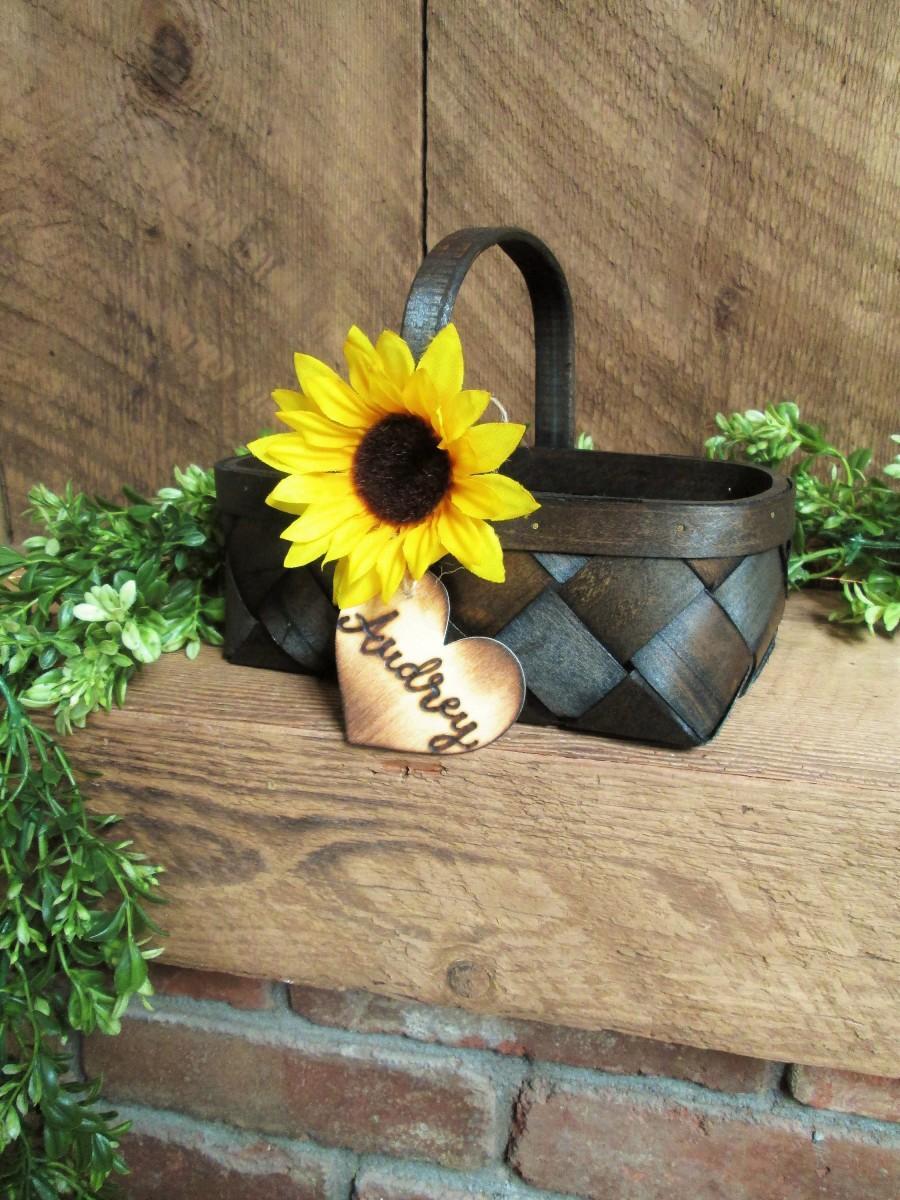 Hochzeit - Sunflower wedding decor, rustic flower girl basket, shabby chic flower girl basket, farm country wedding, barn wedding, personalized basket