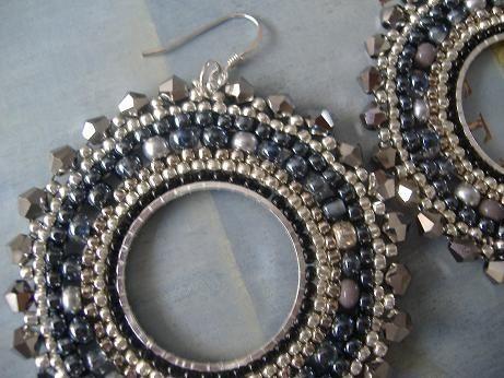 Mariage - Beaded Earrings Silver Goddess Seed Bead Hoop Earrings Beadwork Jewelry