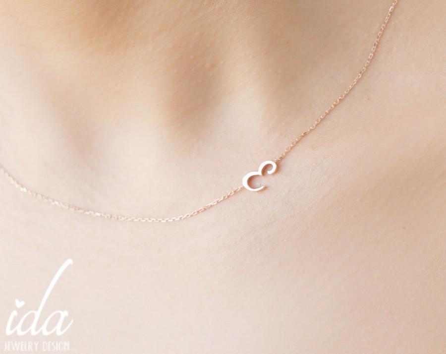 زفاف - Personalized Necklace - Sideways Initial Necklace - Rose Gold Necklace - Choker Necklace - Jewelry - Letter Necklace-Bridesmaid Gift For Her