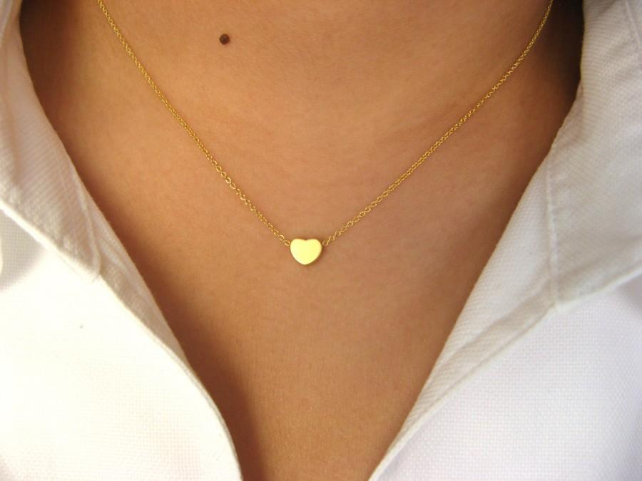 Свадьба - Dainty Heart Necklace - 14K gold filled necklace with Little Heart 14K matt gold plated - love necklace - minimalist