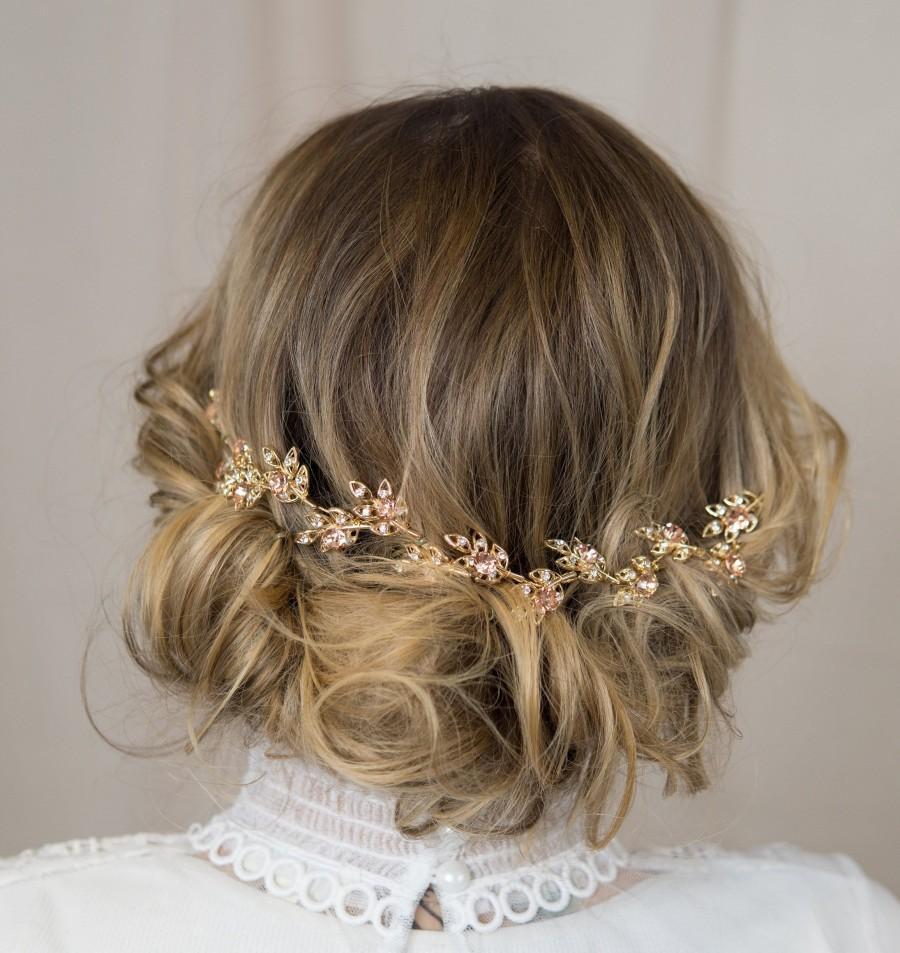 Mariage - Gold Floral Hair Vine Rose Gold Bridal Hair Comb Rhinestone Wedding Hair Piece Gold Hair Halo Floral Head Wreath Gold Leaf Rhinestone Comb