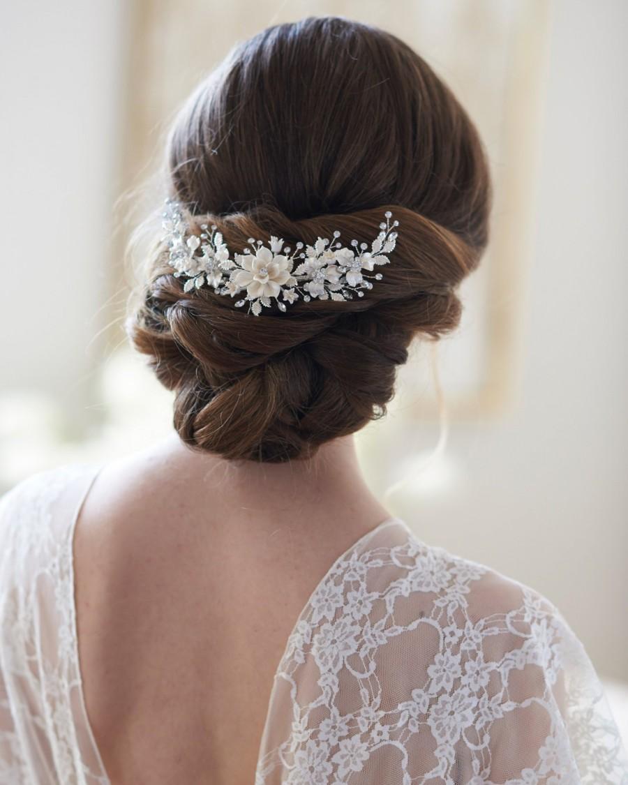 Mariage - Gold Bridal Hair Comb, Floral Gold Hair Comb, Gold Headpiece, Gold Bridal Back Comb, Floral Bridal Hair Comb, Bridal Headpiece ~TC-2303
