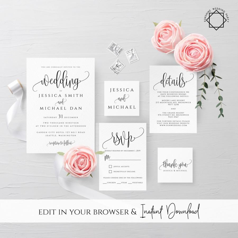 زفاف - Wedding Invitation Template Printable Editable Rustic Wedding Invitation Suite Template Kit Templett Wedding Invitation Template Suite R1