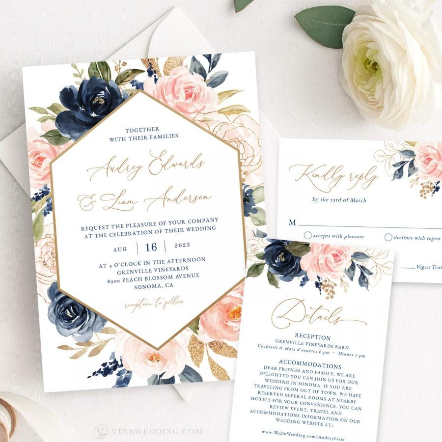 Navy And Pink Floral Wedding Invitation Set, Printable
