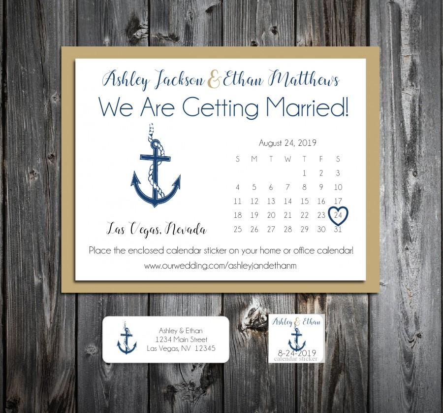 Mariage - 50 Wedding Save the Date Cards - Nautical Beach Anchor - Printed - Personalized Save the Dates Invitations