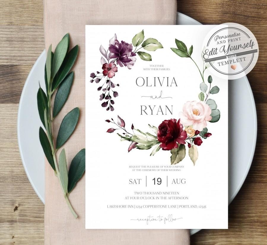 زفاف - Floral Wedding Invitation Template, Burgundy Wedding Invitation Printable Wedding Invite
