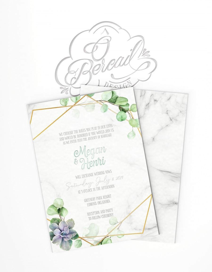 زفاف - Printable Elegant Wedding Invitation with eucalyptus leaves and succulent plant • Floral Invites with gold geometric frame and greenery