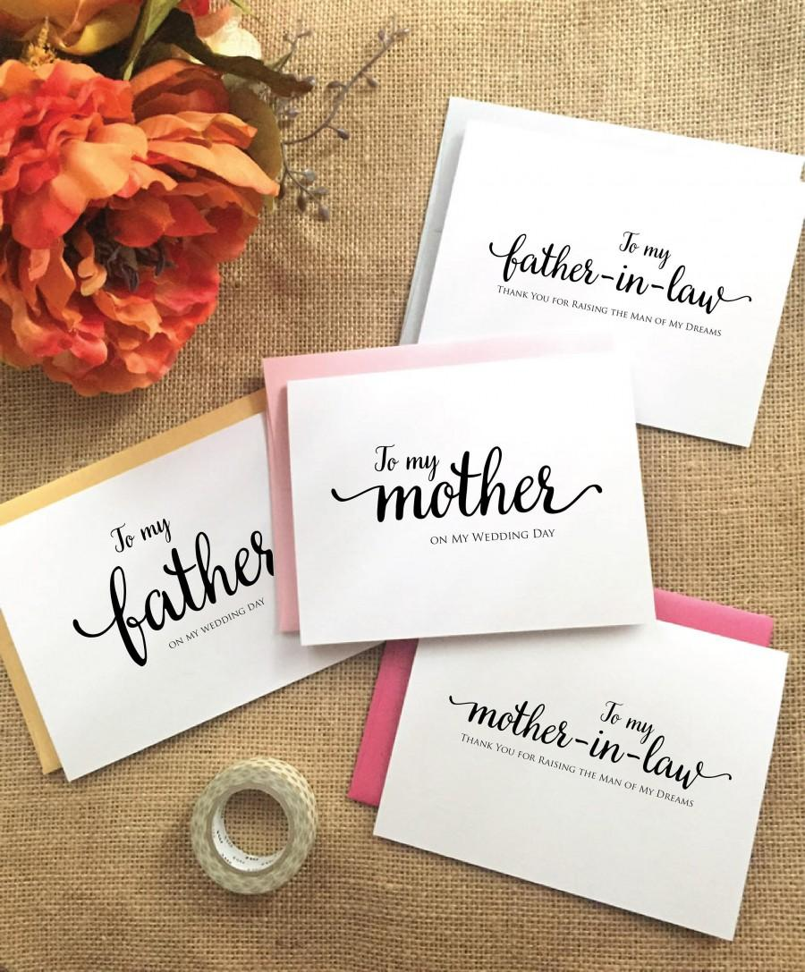 زفاف - To my mother card mother of the bride card To my father card Father of the bride card Mother of the groom Gift Father of the bride Gift WVE8