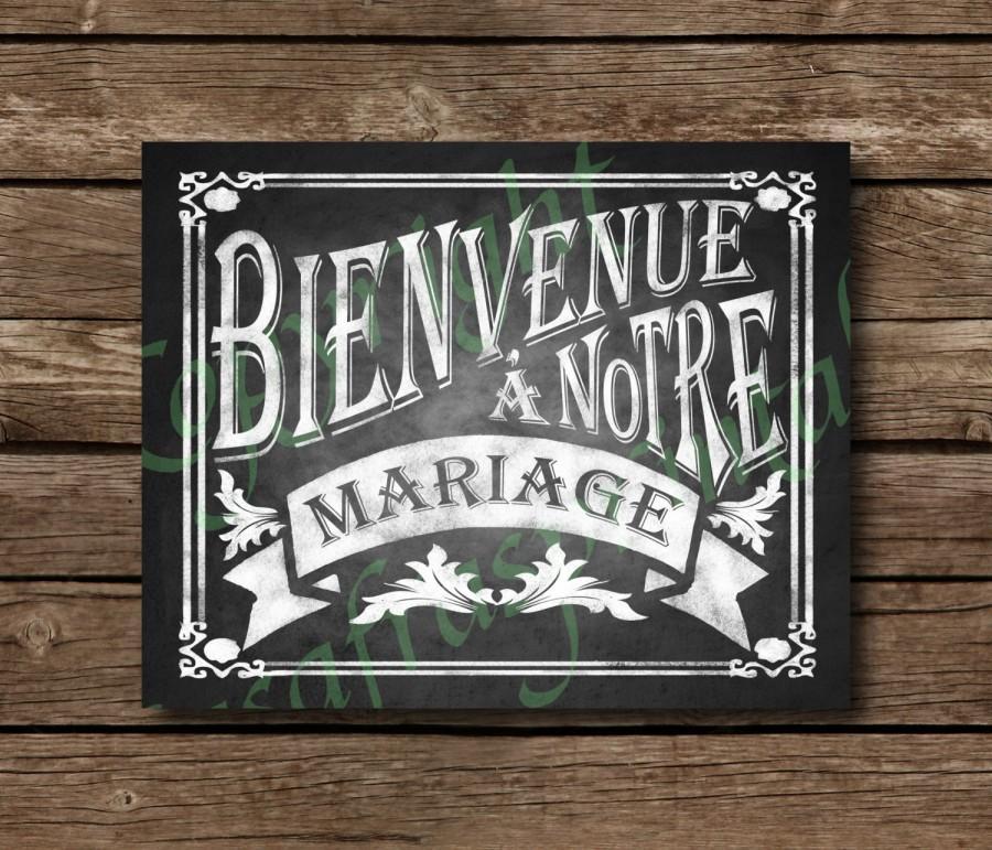Свадьба - Bienvenue à notre mariage Chalkboard Wedding Sign - DIY Download and Print - Printable File