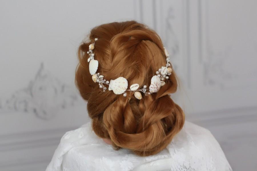 Wedding - Beach Bridal Hairpiece Starfish Crown Wedding SeaShell Headpiece Pearls Halo Bride Wedding Hair Accessories Mermaid Hair vine comb