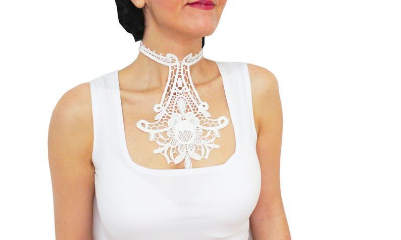 Свадьба - White handmade bridal choker Bridal necklace Ivory white lace choker Bridal accessory Bridal jewelry Wedding jewelry White lace choker