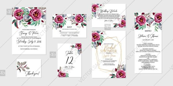 Wedding - Marsala rose peony Wedding invitation set printable card template vector decoration bouquet