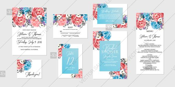 Wedding - Red blue pink rose peony Wedding invitation set printable card template vector be my bridesmaid