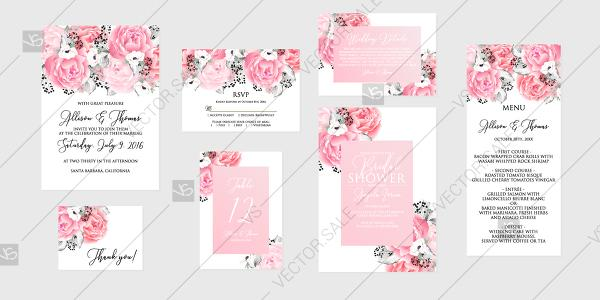 زفاف - Blush pink rose peony Wedding invitation set printable card template vector holiday