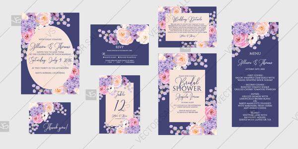 Mariage - Violet velvet pink peach rose peony Wedding invitation set printable card template vector decoration bouquet