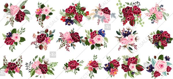 Mariage - Marsala Rose clipart floral vector bouquet red flower and greenery
