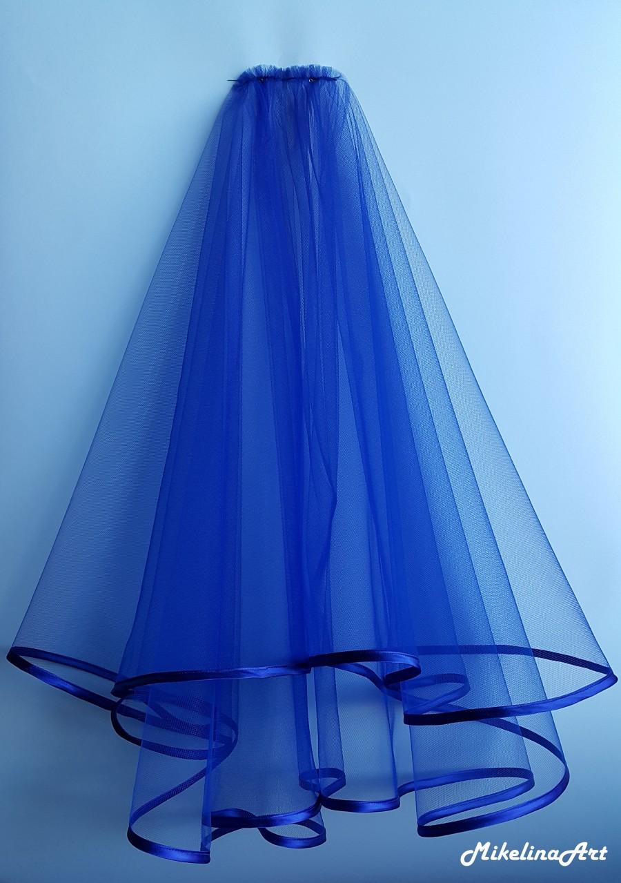 Свадьба - Royal Blue Wedding Veil, Two Layers, Royal Blue Satin Edging.