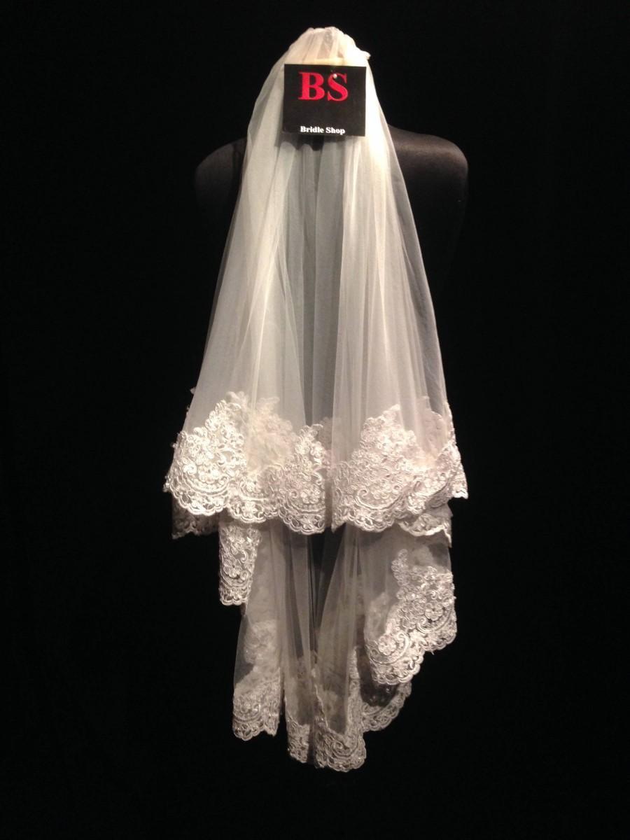 Mariage - Bead Edge Veil, Rhinestone edge veil, floral veil, two tier bridal veil, blusher veil, champagne veil, white lace veil, bead lace trim veil