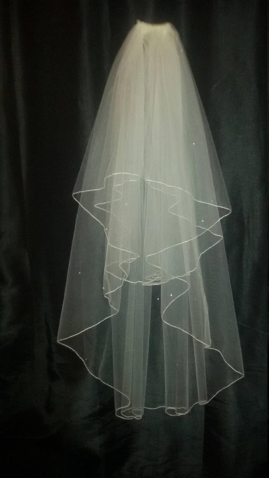 "Wedding - Diamante Rhinestone Ivory wedding veil 30"" / 42"" Fingertip length with  cut or pencil edged. Full circle veil.  2 tiers  FREE UK POSTAGE"