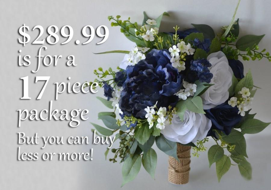 Hochzeit - Wedding Bouquet, Bridal Bouquet, Bridesmaid Bouquet, Silk Flower Bouquet, Wedding Flower, navy blue, blue, navy, burlap, Lily of Angeles
