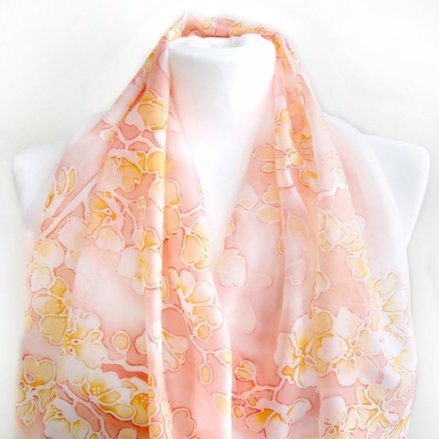 Mariage - Bride scarf - wedding silk scarves hand painted - peach flowers veil - bridal shawl - bridesmaid gift - family heirloom