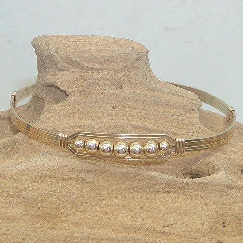 Mariage - Wirewrapped Bracelet - Wire Bangle - Gold Wire Bracelet - Five Little Gold Beads Wire Wrapped Bracelet - Bead Bracelet - Gifts for Women