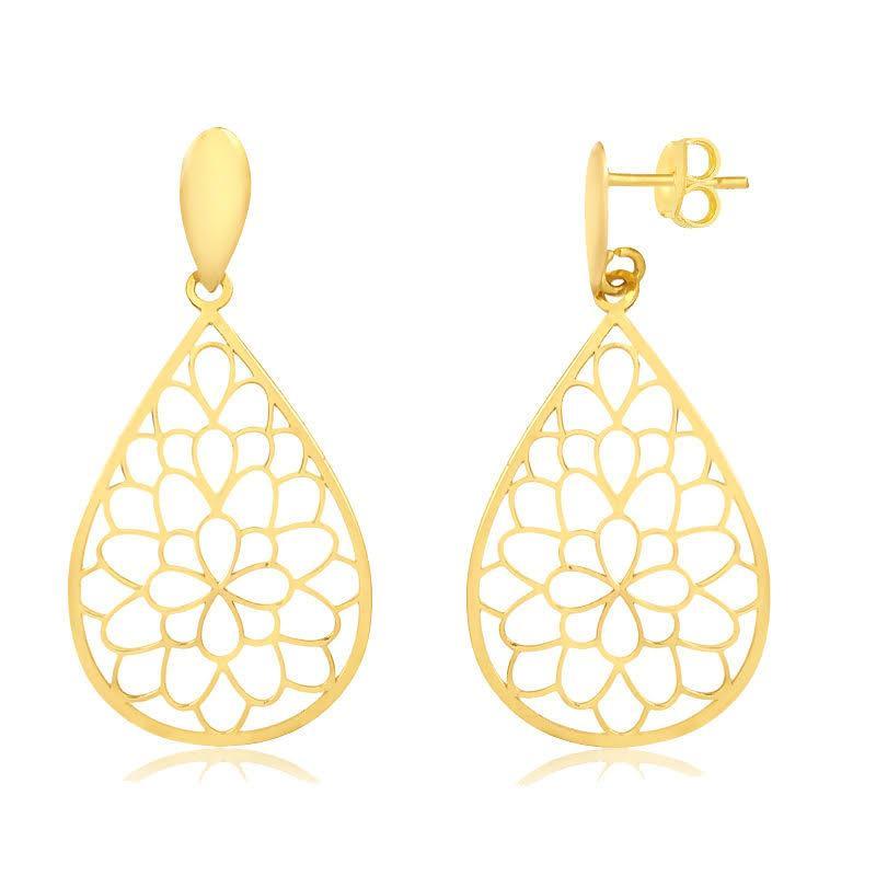 Hochzeit - 18K Solid Yellow Gold Drop Dangle Mandala Earrings