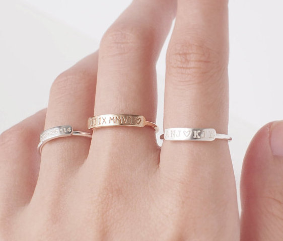 Hochzeit - Stacking Ring Engraved Ring Personalized Ring For Women Gold Plated Ring for Women Custom Name Ring Personalized Jewelry Name Jewelry Custom
