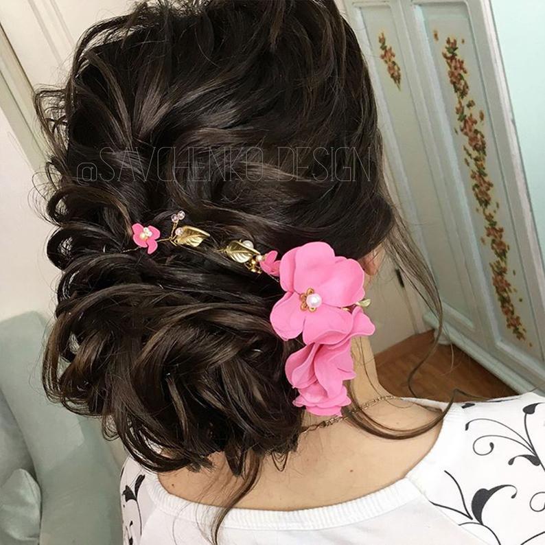 Hochzeit - Rose gold Hair Vine