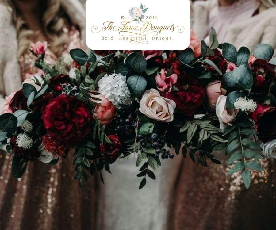 Hochzeit - Wedding Bouquet, Bridesmaids Bouquet, Wedding Flowers, Boutonniere, Silk Flower Bouquet, Silk Flowers, Floral Garland, The Faux Bouquets
