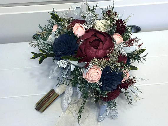 Mariage - Burgundy, Pink, Navy Wedding Bouquet made with sola flowers - choose your colors - Custom - Alternative bridal bouquet - bridesmaids bouquet