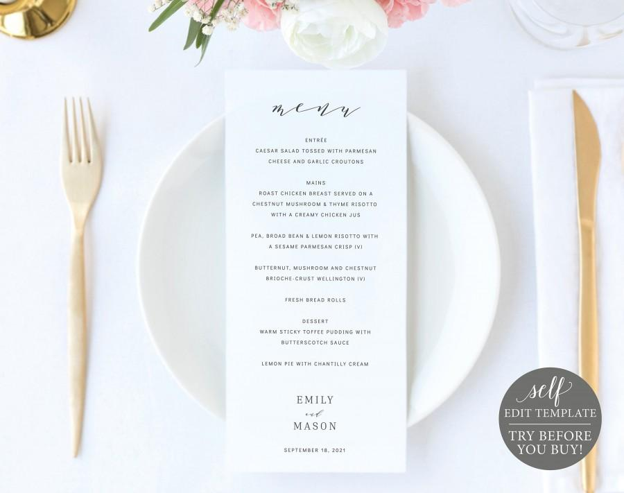 Hochzeit - Wedding Menu Template, 100% Editable Instant Download, Formal & Elegant, TRY BEFORE You BUY
