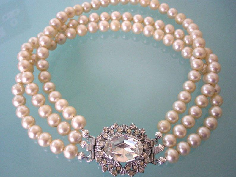Wedding - Small Vintage Pearl Choker, Bridal Pearls, 3 Strand Pearl Choker, Cream Pearls, Wedding Choker, Art Deco Style, Great Gatsby Pearls