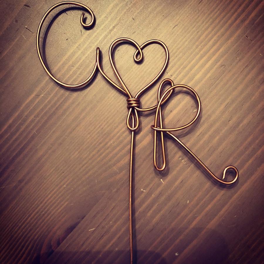 زفاف - Custom Wedding Cake Topper Wire Rustic Country Initials Heart Love Copper Gold Silver Birthday Anniversary Shower Free Shipping personalized
