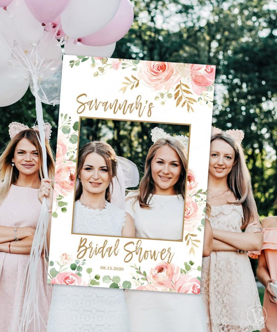 """زفاف - Bridal Shower Photo Prop Frame, Printable Bridal Shower Photo Prop Template, Photo Prop Poster Sign, 24""""x36"""", Blush Pink Floral, VW100BS"""