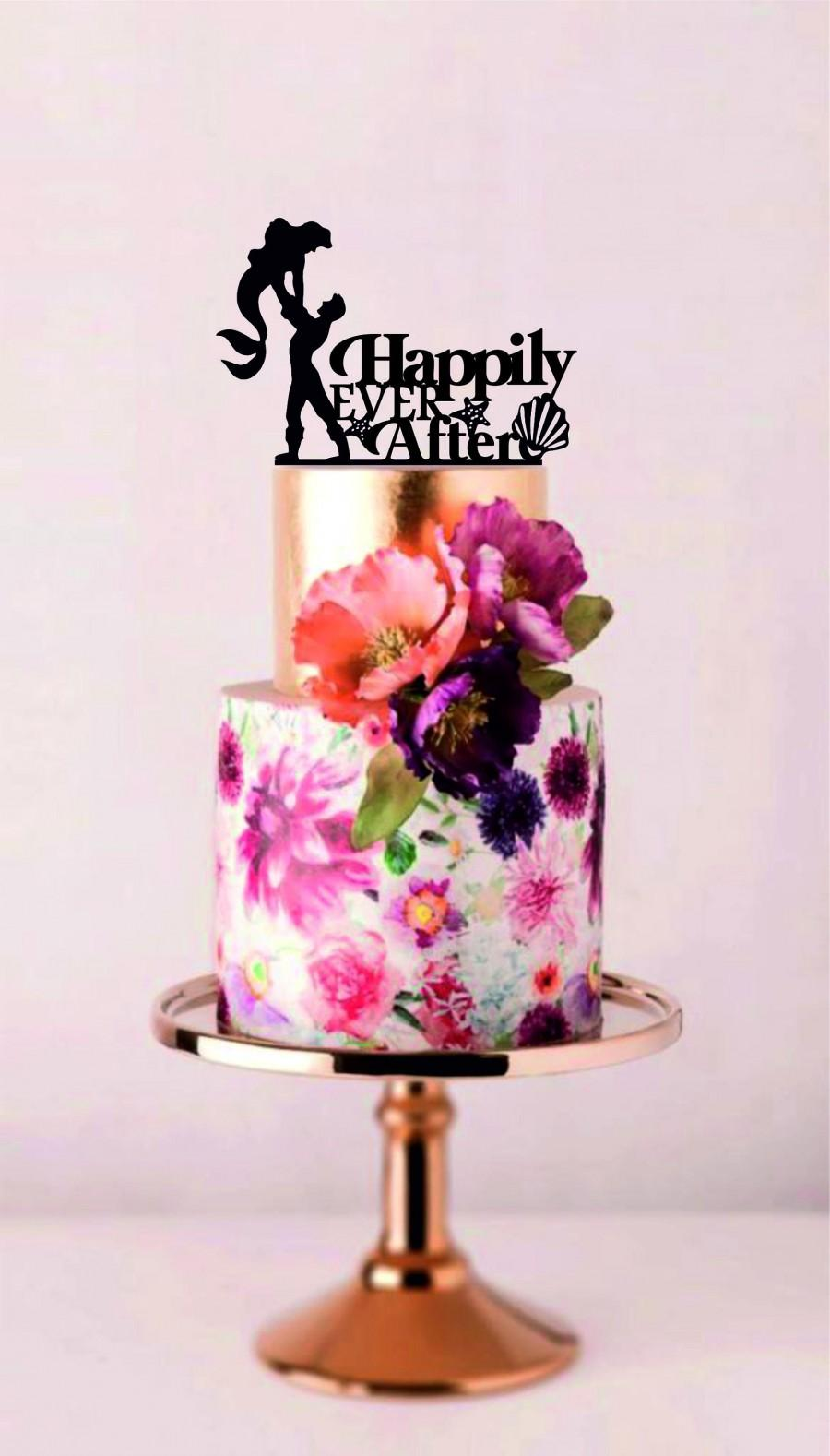 زفاف - Prince and Mermaid Cake Topper, Mermaid Wedding Cake Topper, Happily Ever After Silhouette Cake Topper, Cake Topper With Words