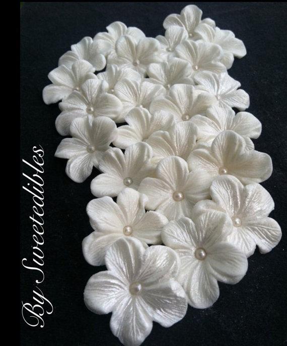 زفاف - GUMPASTE Cake Decorations WHITE Gum Paste Blossoms 25 piece