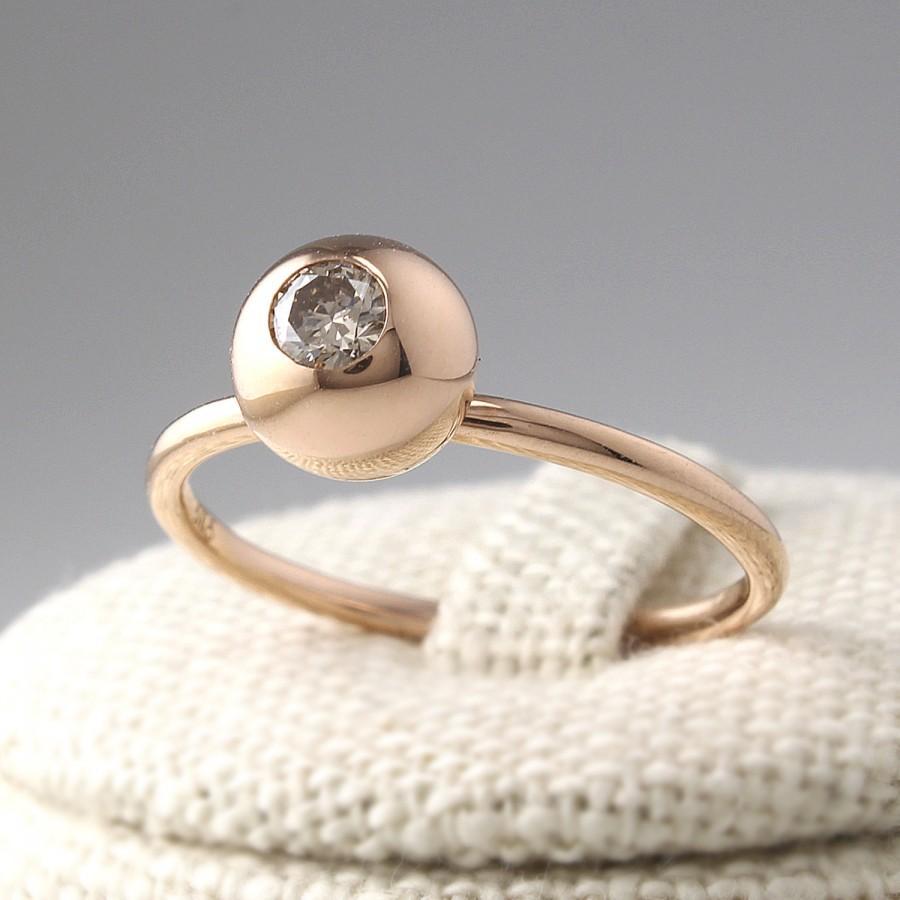 Wedding - Champagne Diamond Ring, Cognac Diamond Ring, Rose Gold Ring, Simple Diamond Ring, Stacking Ring, Diamond Wedding Band, Minimalist Ring
