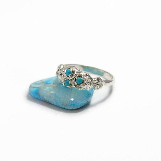 Свадьба - Nature Engagement Ring, Turquoise Diamond Ring, Flower Engagement Ring, Turquoise Leaf Ring, Turquoise Wedding Jewelry, Turquoise Ring.