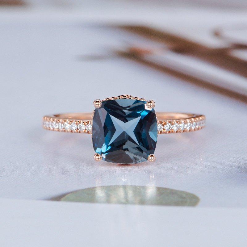 Wedding - London Blue Topaz Engagement Ring Cushion Cut Rose Gold Half Eternity Diamond Ring Solitaire Art Deco Filigree Women Flower Floral Vine