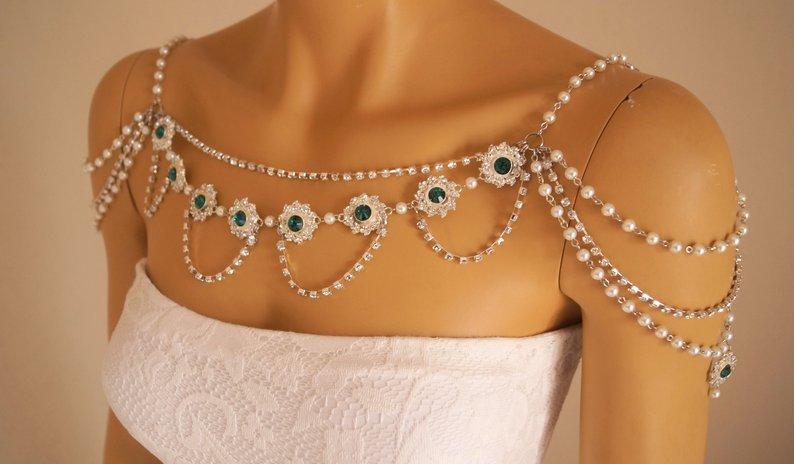 Свадьба - Shoulder necklace,Shoulder jewelry,Bridal shoulder necklace,Pearl shoulder necklace,Emerald green,Shoulder necklace wedding,Wedding jewelry,