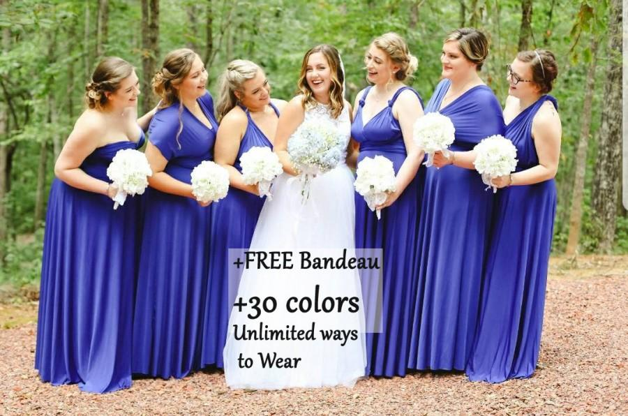 Wedding - Royal Blue Bridesmaid dress, Mix and Math bridesmaid dress, Multiwrap dress convertible dress, maternity gown, multiway dress, party dress
