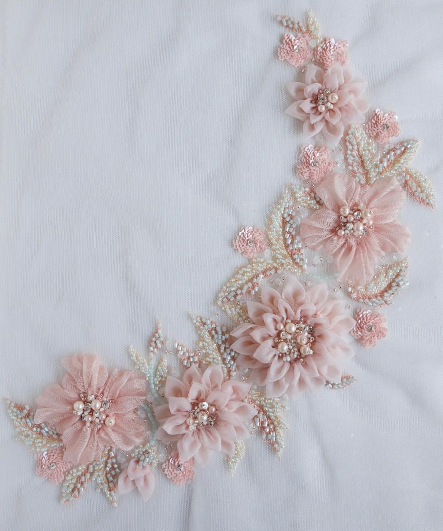 Wedding - Applique in beautiful blush with hand-crafted silk organza flowers