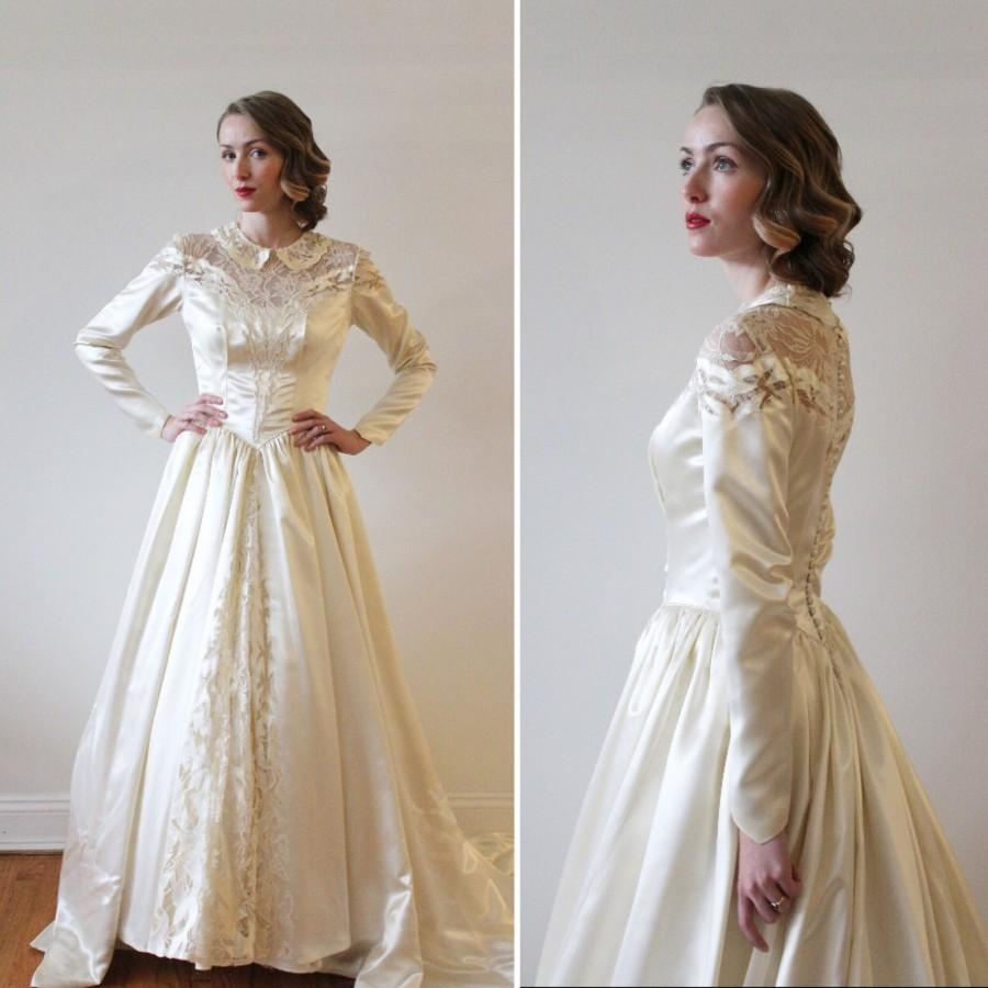 Vintage 18s Champagne Slipper Satin Wedding Dress With Intricate ...